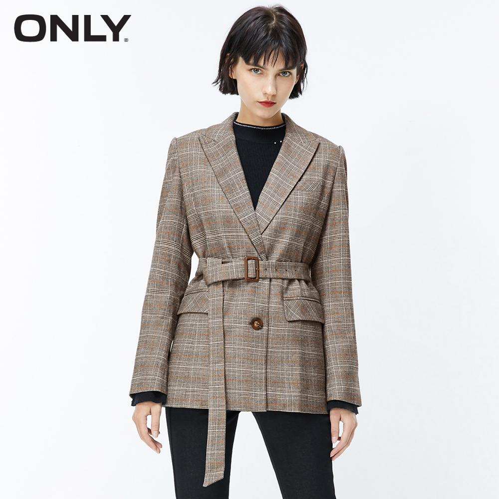 ONLY Autumn Winter Women's Checked Suit Jacket | 119308545