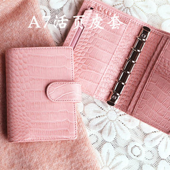 Presell Pink Cowhide Croc Genuine Leather A5 A6 A7 notebook Diary planner journal Stationery notepad Agenda Organizer Big Pocket