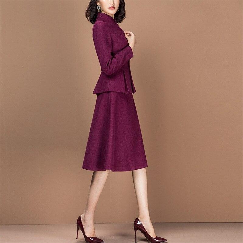 Two Piece Set Slim Fit Long Sleeve Blazer Jacket Tops Elegant Dress Suits Women Work Office Lady Bodycon Dress Female Plus Size