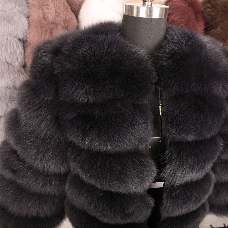 maomaokong 50CM Natural Real Fox Fur CoatWomen Winter natural fur Vest Jacket Fashion silm Outwear Real Fox Fur Vest Coat Fox 18