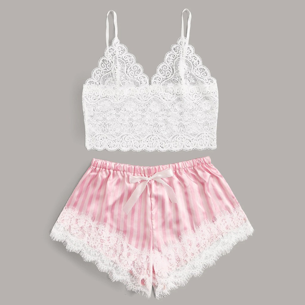 Lace Satin Cami With Striped Shorts Women Pijamas Sexy Sleepwear Set Eyelash 2019 Summer Ladies Shorts Set Nightwear 2 PCS