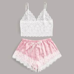 Lace Satin Cami With Striped Shorts Women Pijamas Sexy Sleepwear Set Eyelash 2019 Summer Ladies Shorts Set Nightwear 2 PCS