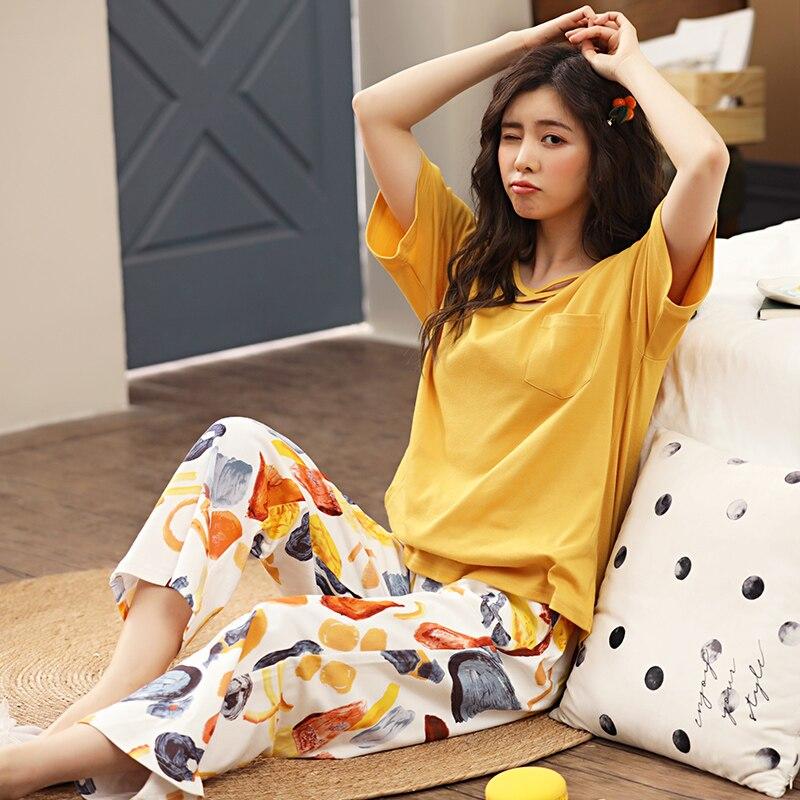 Summer Cotton Pajamas For Women Fashion Sleepwear Cute Homewear Suit Pijamas Round Neck Pyjamas Plus Size Nightwear M-XXXL