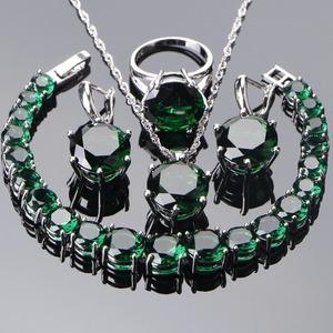 Image 1 - 925 Sterling Silver Wedding Jewelry Sets Women Earrings Bridal Green Zircon Stones Jewelry Bracelet Rings Pendant Necklace Set