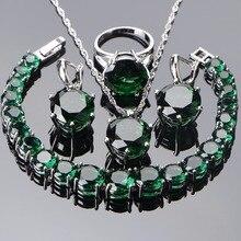 Ensembles de bijoux de mariage en argent Sterling 925, boucles doreilles, pierres en Zircon vertes, ensemble de bijoux, Bracelet, collier pendentif, pour femmes