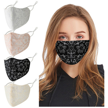 Adult Washable Lace Flower Adjustable Cotton Breathable Mask Print Face mascarilla Reusable#50