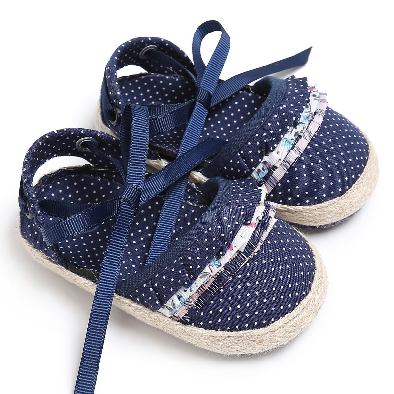 Infant Baby Girls Shoes Kids Polka Dot Footwear Cute Bow Knot Princess Newborn Crib Soft Soled First Walkers