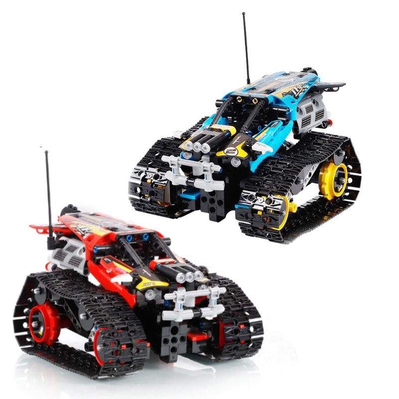 App técnico rc rastreou dublê de corrida modelo de carro blocos de construção de controle remoto fora de estrada caminhão veículo tijolos crianças brinquedos presentes