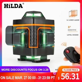 HILDA 16 خطوط 4D مستوى الليزر الذاتي التسوية 360 الأفقي والرأسي عبر سوبر قوية مستوى الليزر الأخضر