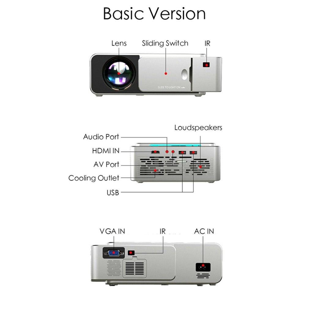 T6 fhd led projetor 4k 3500 lumens hdmi-compatível com usb 1080p portátil cinema proyector beamer display lcd versão normal-4