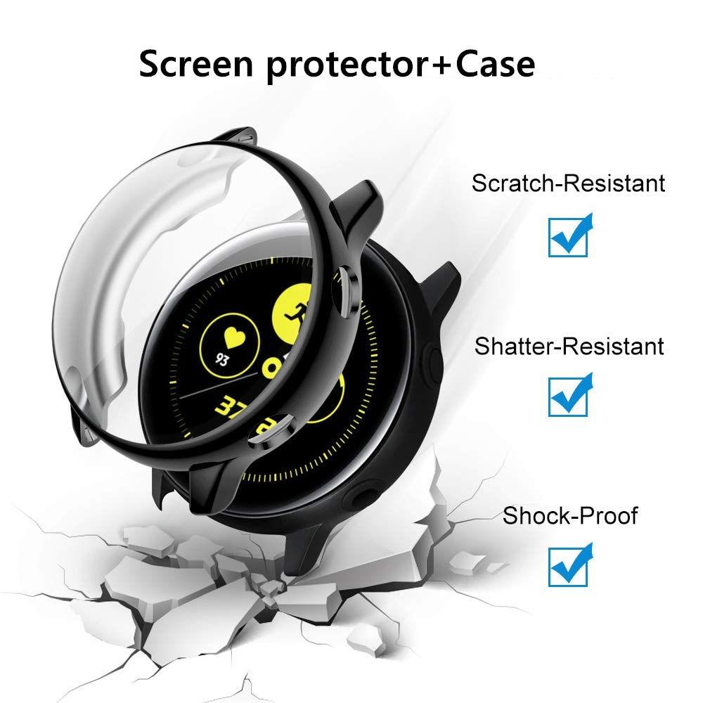 Protector de pantalla + funda para Samsung Galaxy watch active 2 44mm 40mm TPU cubierta completa parachoques + Accesorios de reloj de película