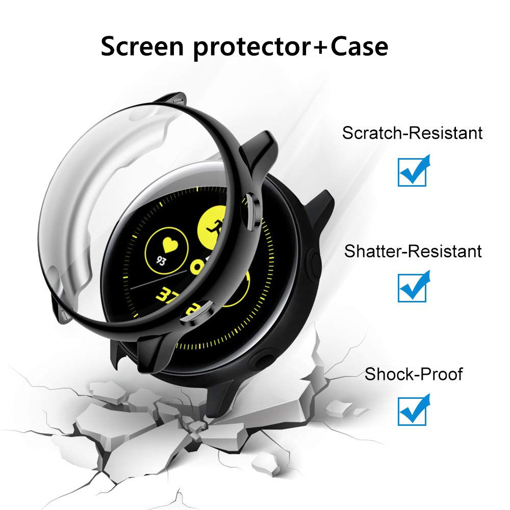 Screen Protector+Case For Samsung Galaxy Watch Active 2 44mm 40mm TPU All-Around Cover Bumper+film Watch Accessories