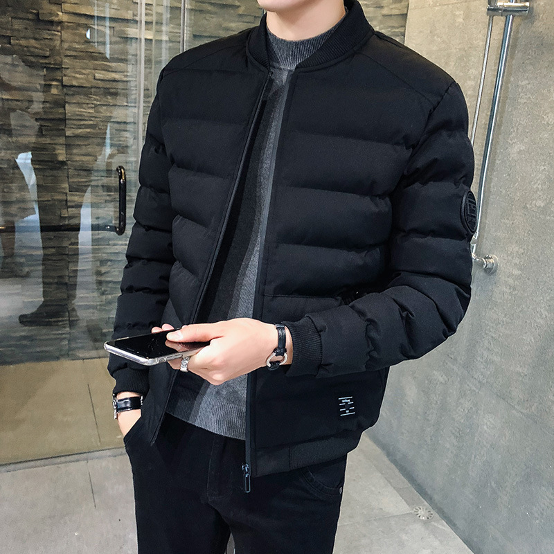 MEN'S Coat Winter Trend New Style Plus Velvet Cotton Coat Thick Short Korean-style Slim Fit Cotton-padded Jacket Down Feath