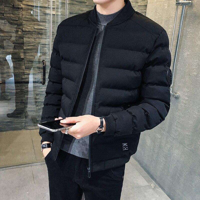 MEN'S Coat Winter Trend New Style Plus Velvet Cotton Coat Thick Short Korean-style Slim Fit Cotton-padded Jacket Down Feath