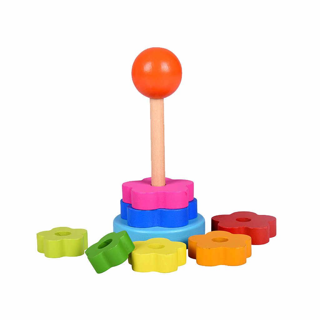 Juguetes de madera para niños, bloques de aprendizaje, torre de apilamiento, Stapelring, juguetes educativos para niños, arcoíris, apilar, juguetes de madera