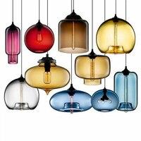 현대 스테인드 글라스 펜 던 트 조명 다채로운 교수형 램프 로프트 hanglamp led 다이닝 룸 주방 홈 비품 산업 장식