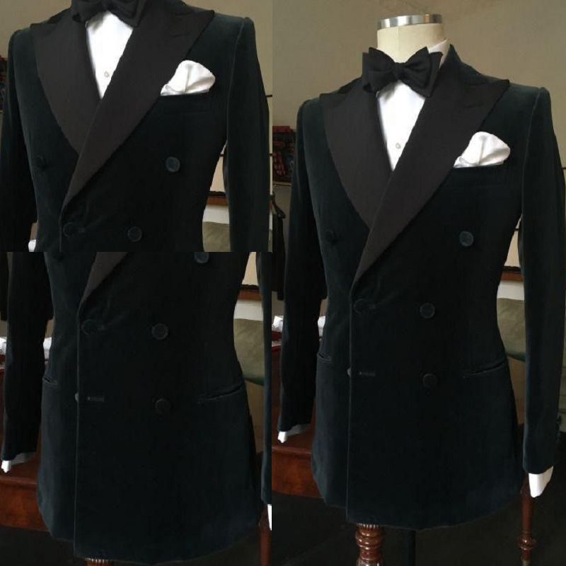 Formal  Black Double Breasted Slim Groom Wedding Prom Suits For Men Custom Made Velvet Mens Tuxedo Wedding Suits One Jacket