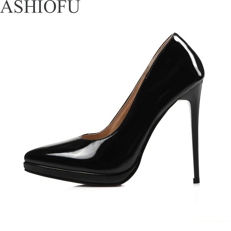 ASHIOFU New Women Super Heel Pumps <font><b>Sexy</b></font> Slip-on Party Prom Platform Dress <font><b>Shoes</b></font> <font><b>Large</b></font> <font><b>Size</b></font> Fashion Evening Club Court <font><b>Shoes</b></font> image