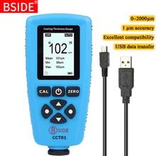 BSIDE CCT01 דיגיטלי ציפוי מד עובי 1 מיקרון דיוק 0 2000um צבע מכונית סרט עובי Tester Meter מדידת FE/NFE