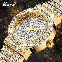MISSFOX mały damski zegarek FF unikatowe produkty luksusowy markowy diament zegarek damski wodoodporny analogowy 18K złoty klasyczny mrożony zegarek