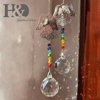 H & D Set 2 colgante Chakra bola de cristal colgante atrapasoles Angel prisma máquina de arcoíris decoración de Navidad para el hogar con caja de regalo|Cairel de jardín|   -