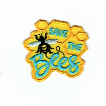 Custom embroidery patches 75% embroidery area yellow twill hot cut border save the bees emblem iron on patch for cloth jacket image