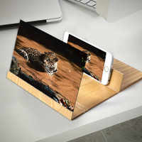 3D Phone Screen Magnifier Stereoscopic Video Amplifying Desktop Foldable Wooden Bracket Mobile Phone Holder Tablet Holder 12inch