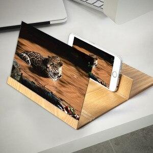 Lupa de pantalla de teléfono 3D, soporte de madera plegable para teléfono móvil, soporte para tableta de 12 pulgadas, amplificador de vídeo estereoscópico