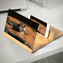 Lupa de tela de celular 3d 12 polegadas, vídeo para amplificação e suporte, dobrável, de madeira, suporte para celular, tablet