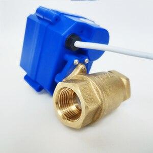 "Image 5 - 1/2 ""صمام المحرك الكهربائي النحاس ، DC12V صمام بمحرك مع 3 أسلاك (CR02) ، DN15 صمام كهربائي للتحكم في المياه"