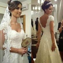 A-Line White Lace appliques Long Beading Elegant Applique Short Sleeve Zipper Bridal Gown 2018