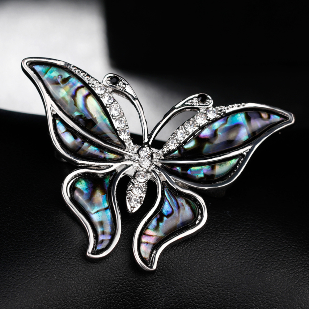 Vintage Rhinestone Shell Brooch Collar Animal Corsage Jewelry Accessories for Girl(As Shown)-4