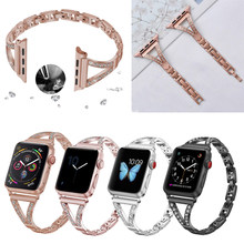 Diamant Riem Voor Apple Watch Band 38Mm 42Mm 40Mm 44Mm Iwatch 5 Armband Vrouwen Rvs Apple Watch riem Accessoires(China)
