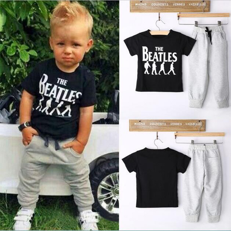 T-Shirt Pants Clothing 2-Sets 2-6-Years-Old Baby-Boy Short-Sleeved Cotton Hot Letter title=
