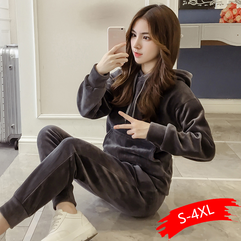 Velvet Tracksuit Two Piece Set Women Sexy Hooded Grey Long Sleeve Top Pants Bodysuit Suit Runway Fashion 2020 Black XXXL