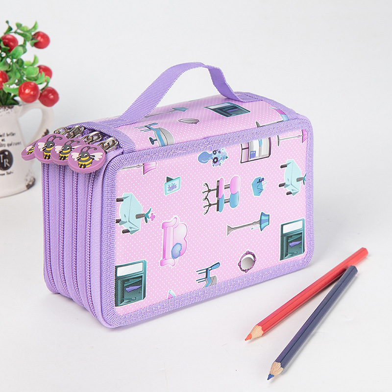 Kawaii School Pencil Case Big 36/48/72 Holes Penal For Girls Boys Pen Box Large Storage Cartridge Bag Stationery Kit Pencilcase