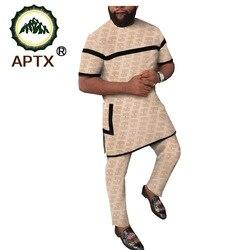 Мужской костюм из 100% хлопка с принтом в африканском стиле, комплект из 2 предметов: однотонный топ Дашики + брюки из Анкары, спортивный костюм...