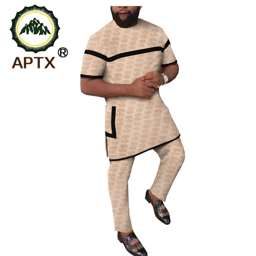 African Print 100%cotton Suit For Mens 2 Piece Set Solid Dashiki Tops+ankara Pants Tracksuit Sweatsuit With Pockets TA1916002