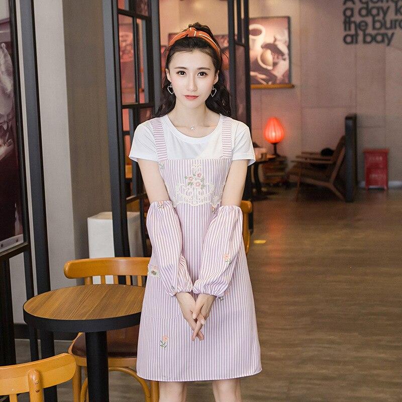 二重層韓国スタイルのファッション漫画のバニーの耳ストラップカフエプロン Overclothes キッチン服作業服 COUPLE'S
