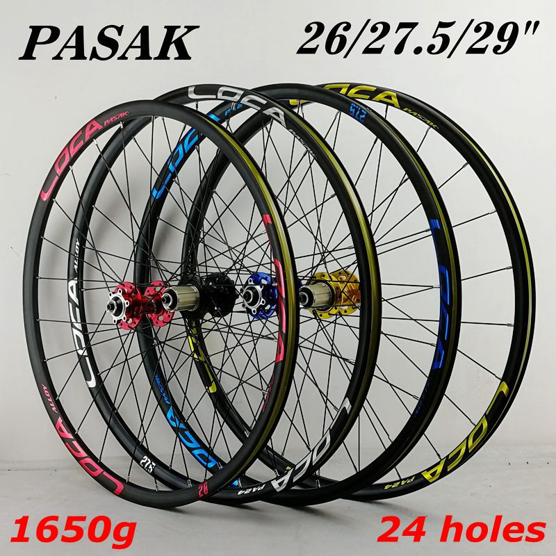 PASAK MTB bicycle <font><b>wheel</b></font> 4 bearing disc brake 26/27.5/29-inch mountain bike <font><b>wheel</b></font> set <font><b>6</b></font> jaw clip with ultralight <font><b>wheel</b></font> 1650g image