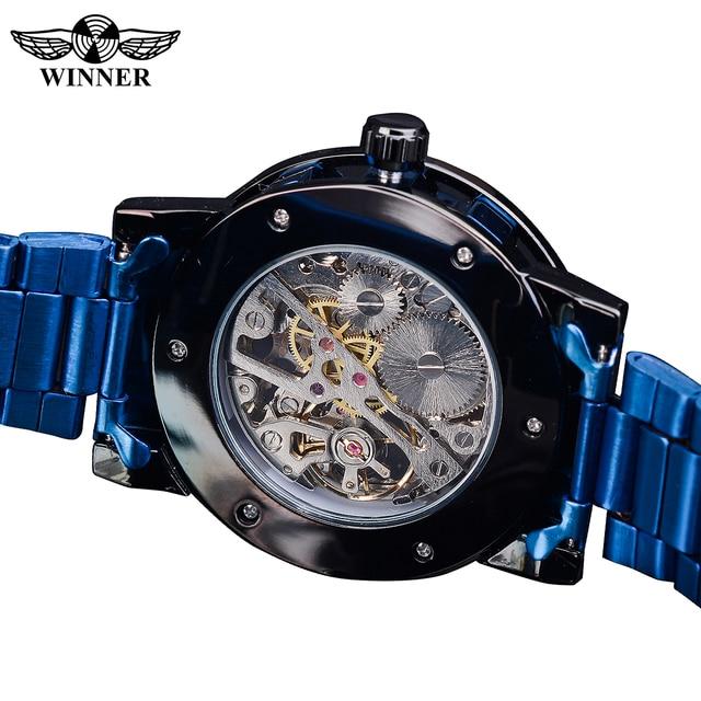 Winner Transparent Diamond Mechanical Watch Blue Stainless Steel Skeleton Watch Top Brand Luxury Business Luminous Male Clock 5