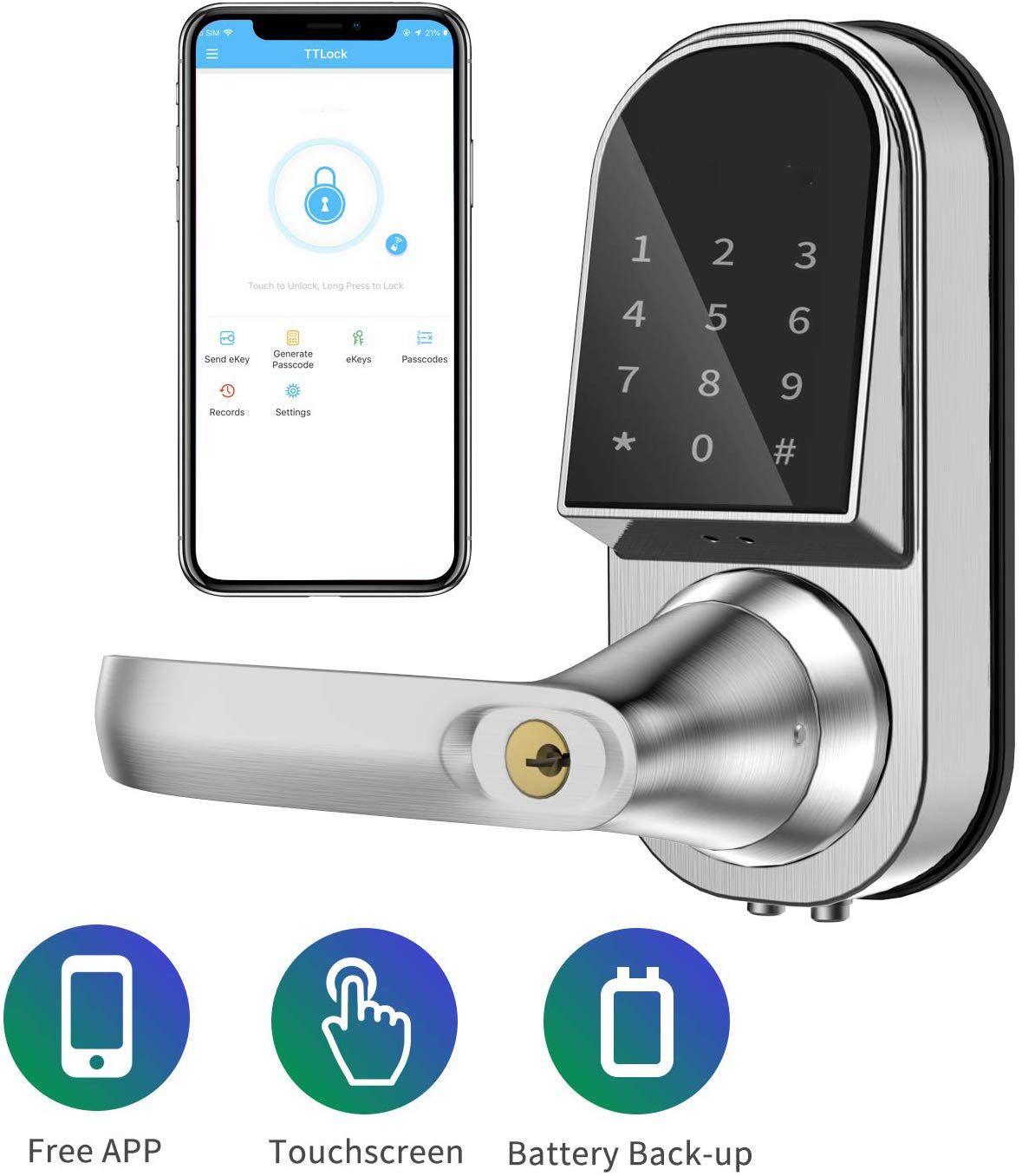 Smart Lock Keyless Entry Door Lock Electronic Front Door Lock APP Control Bluetooth Mechanical Keys Home touch screen lock