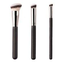 3 pçs conjuntos de escovas de maquiagem de madeira preta fundação mágica traceless escova profissão corretivo macio macio cabelo sintético compõem