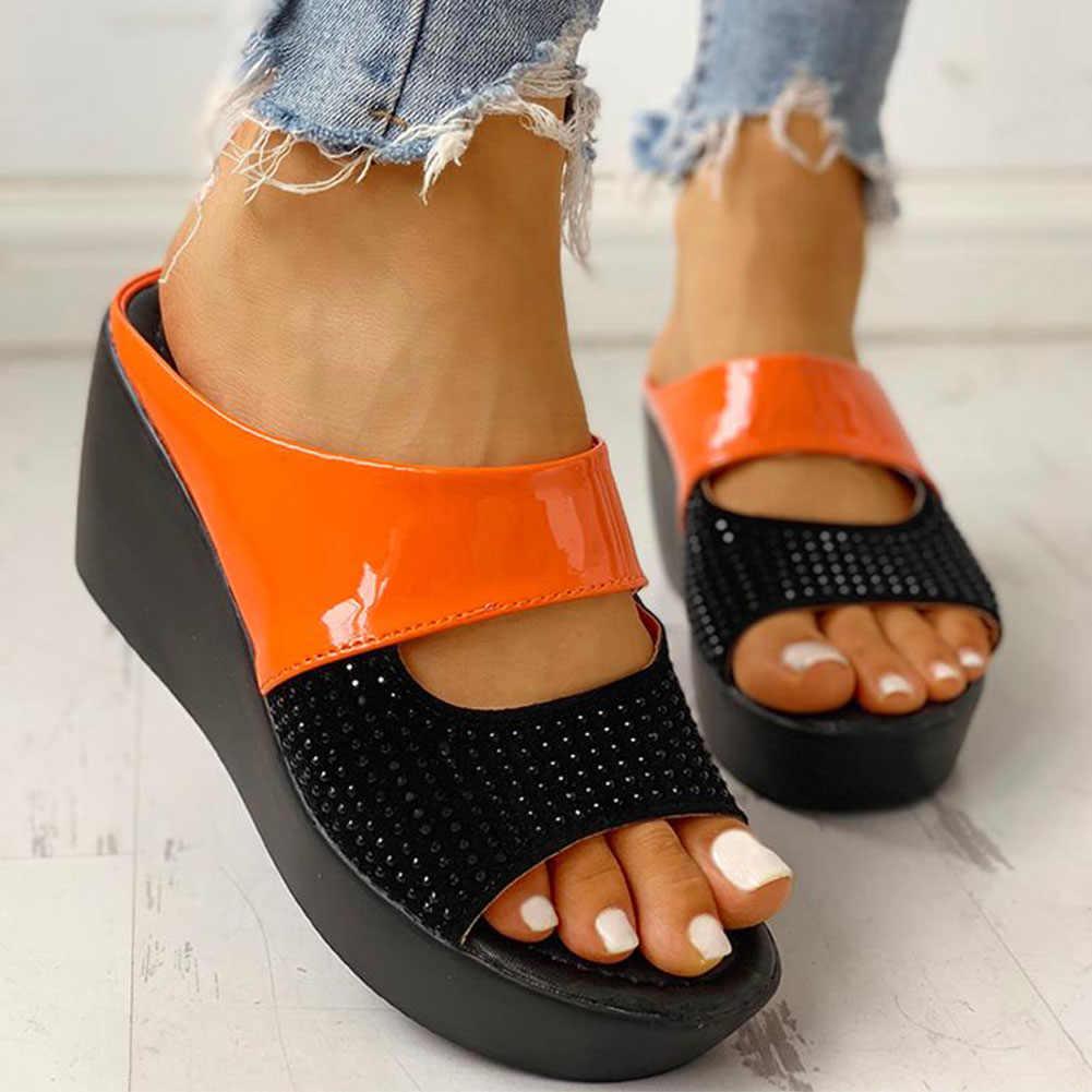 Karinluna nueva venta al por mayor cuñas tacón Zapatos informales plataforma cómodo verano deslizamiento en mulas zapatillas Mujer Zapatos Mujer sandalia