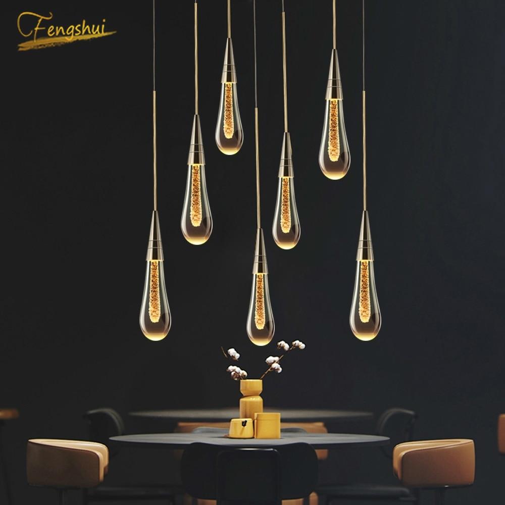 Modern Gold Glass Pendant Lights Ligthing LOFT Staircase Living Room LED Pendant Lamp Hotel Hall Villa Home Decor Hanging Lamps