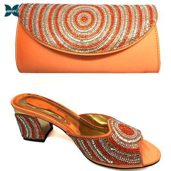 2020 Latest Italian design Shoes with Matching Bags Set  Women Shoes High Heel African Shoes and Bags Match in Orange Color