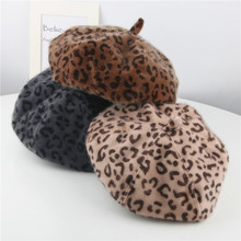 Kids Beret Leopard Wool Girls Painter-Cap Warm Fashion Children Outdoor Autumn