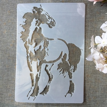 A4 Horse DIY Layering Stencils Painting Scrapbook Coloring Embossing Album Decorative Paper Card Template