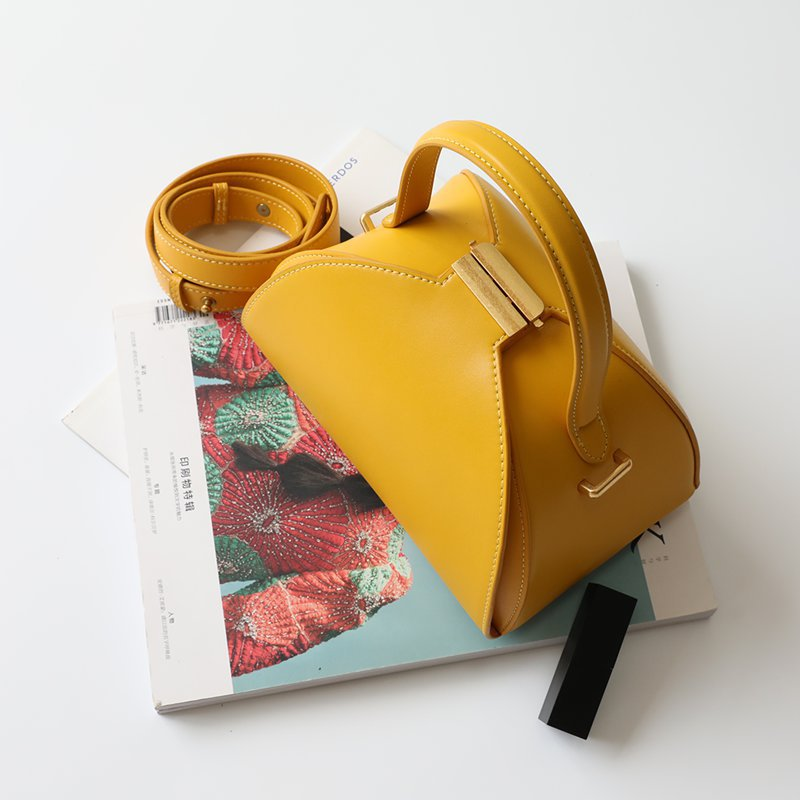 Female Cow Leather Women 39 s Bag Semi circular Casual Shoulder Crossbody Bag For Women 2019 Shell Bag Wide Shoulder Strap Lock Bag in Shoulder Bags from Luggage amp Bags