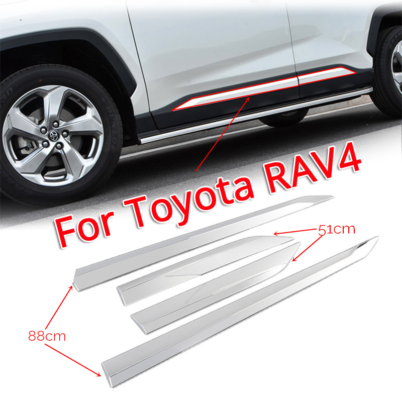 1 Set ABS Chrome Door Body Molding Fit For Toyota RAV4 2019 2020 Door Body Anti-scratch Protector Car Side Strips Trim Cover